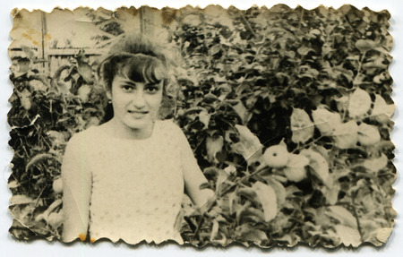 Ussr - CIRCA 1970s: An antique Black & White photo show beautiful girl in the garden 新聞圖片