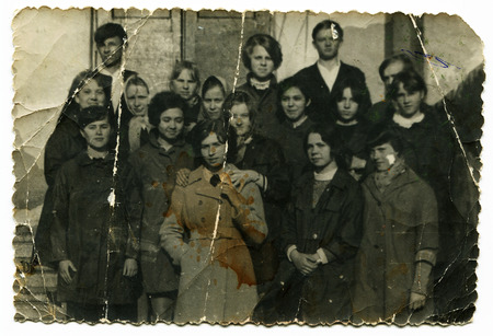 Ussr - CIRCA 1970s: An antique Black & White photo show group people