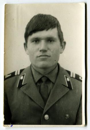 Ussr - CIRCA 1970s: An antique Black & White photo show portrait of a man