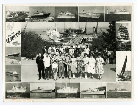 Ussr - CIRCA 1983s: An antique Black & White photo show collage of photos of tourists from the resort. The inscription on the photo Port of Odessa