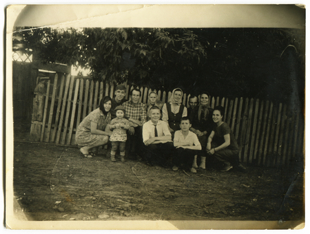 generational: Ussr - CIRCA 1970s: An antique Black & White photo show group people