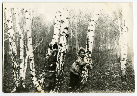 Ussr - CIRCA 1970s: An antique Black & White photo show two sisters in the woods playing hide and seek behind the birches