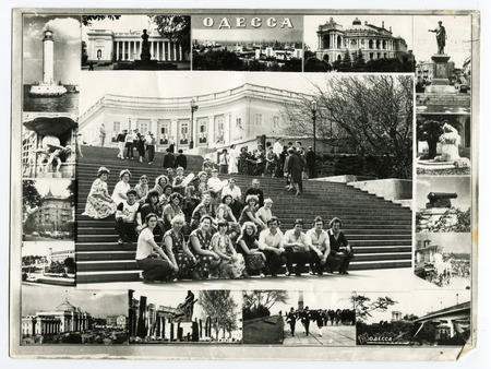 Ussr - CIRCA 1983s: An antique Black & White photo show collage of photos of tourists from the resort. The inscription on the photo Odessa