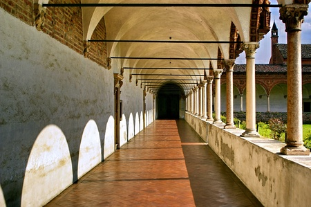a nice view of a cloister in italy Editorial