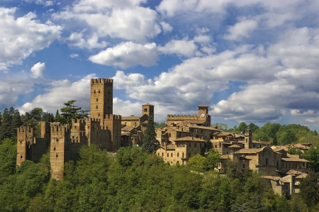 crusader: a nice view of a medieval city in italy Stock Photo