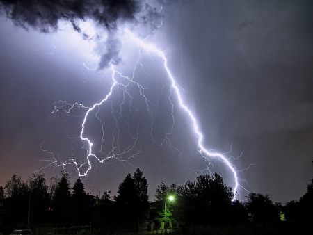 electric storm: a big lightning in a summer storm