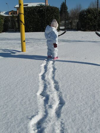 footprint in the snow of a child  photo