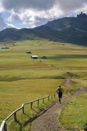 running on italian alps photo