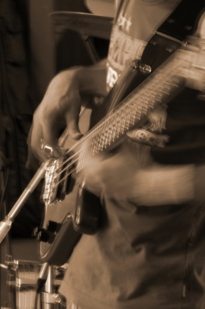 a nice view of a bass player