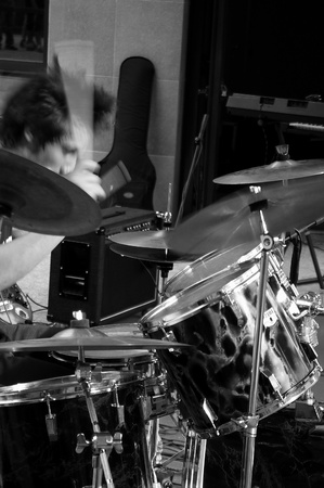 drum sticks: a nice view of a drum player
