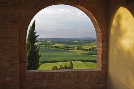 farmhouses: a nice view of italian landscape
