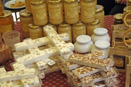 nougat on honey of lavender at market in Provence,France photo