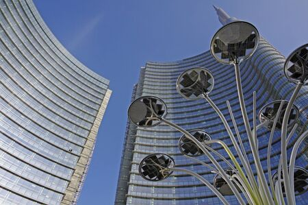 modern led light and skyscraper in Milan,Italy Stock Photo