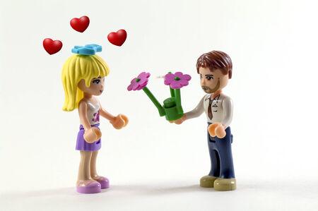 couple of toys in a romantic scene Stock Photo