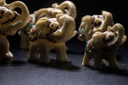 Herd of white-patterned elephants. Side shot. Black Background