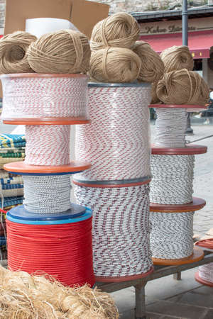 Ropes and ropes in front of shop outside. Stock Photo