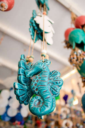 Seahorse ceramic handmade. Hanging from above. Ayvaiik retreated to the island of Cunda.