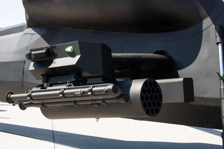 Helicopter gun close-up. In black.