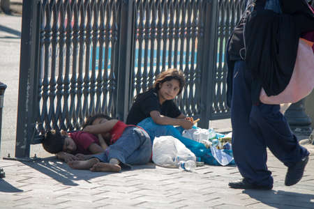 Eminonu, Istanbul, Turkey - July 29, 2019:Homeless children living on the street