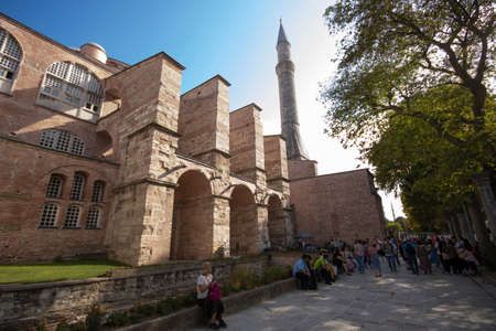 Istanbul, Turkey - September-19,2019: Close shot of Hagia Sophia museum. Taken in the foreground. Editöryel