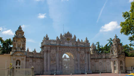 Dolmabahçe Palace entrance gate. Old historical building made during the Ottoman period.