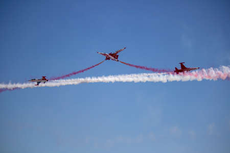Istanbul, Turkey - September-22,2019: Turk star f5 demonstrated their acrobatics show team.