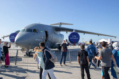 Istanbul, Turkey - September-18,2019: Antonov an-178 is being visited at the festival.