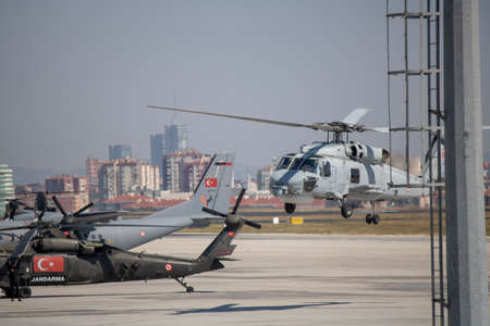 Istanbul, Turkey - September-18,2019: Sikorsky Attack helicopter was shot at Atatürk airport. Teknofest 2019
