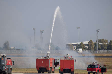 Istanbul, Turkey - September-18,2019: Fire extinguisher exercise at the airport runway.