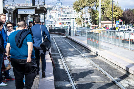 Istanbul, Turkey - September-11.2019: Sirkeci region is a touristic place. IThe tram line passes through the middle of the street. Editorial