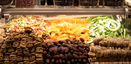 Turkey Dried fruit at Spice Market. Close up.