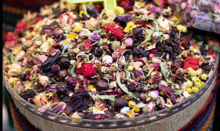Mixed herbal tea being sold in front of store. Фото со стока