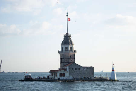 The Maiden's Tower is photographed closely. Photographed on the ferry. In sunset time.
