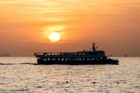 Kadikoy Moda coast sea view at sunset. Photographed outdoors. Golden hour
