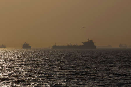During the sunset and the golden hour on the sea, transport ships are seen.