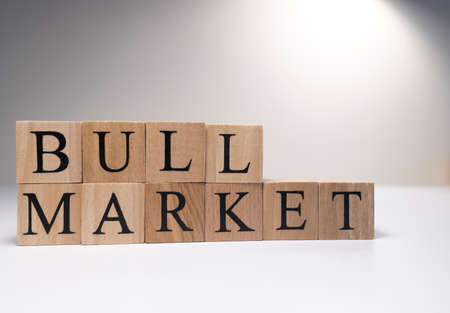Bull market word on wooden cubes on white background. Photographed in the studio and in spot light. Business market concept.