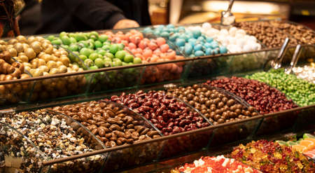Colorful candies. A photo was taken from the side. Apart from sugar, there is almond content. Standard-Bild