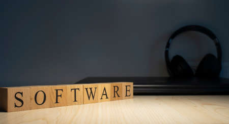 The word software is made of wooden cubes.