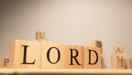 The word lord is from wooden cubes. Economy state government terms. Background made of wooden letters.