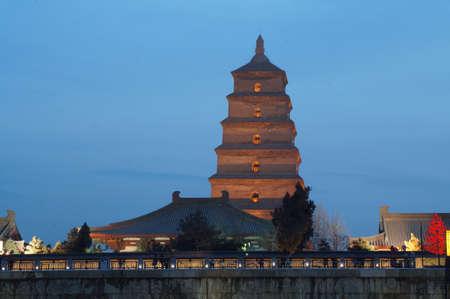 Xian Chinese pagoda at night                               Stock Photo - 17930426