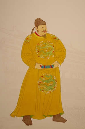 This is a Chinese emperor taizong in tang dynasty portrait .