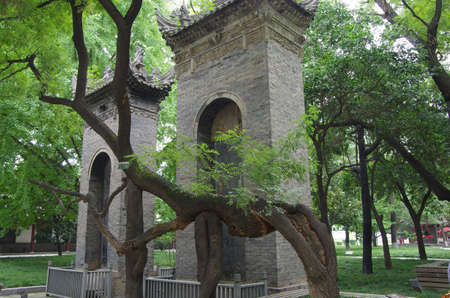 historical sites: The small wild goose pagoda is a historical sites in xian, China s famous tourist resort  Stock Photo