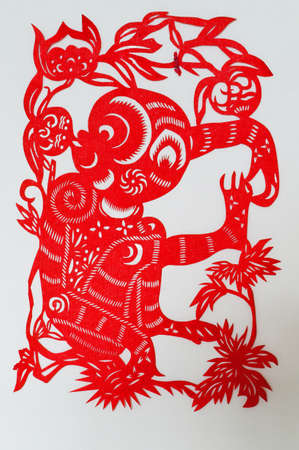 The Chinese paper-cut monkey                                photo