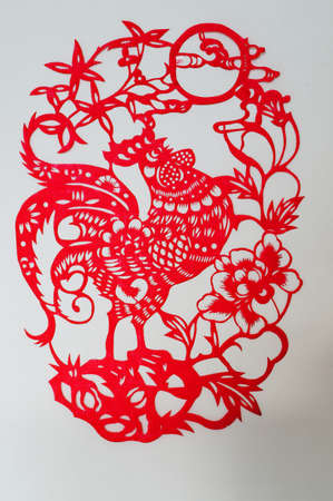 The Chinese paper-cut chicken                                Stock Photo