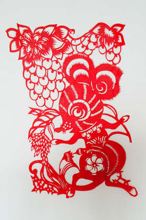 The Chinese paper-cut rat                                photo
