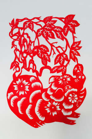 The Chinese paper-cut pig                                      photo