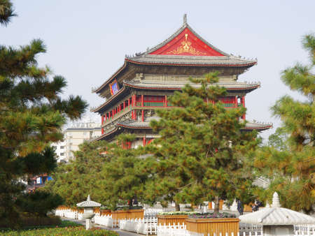 building external: Is located in China s shaanxi province xi  an ancient drum tower, is the famous scenic spots and historical sites in the world