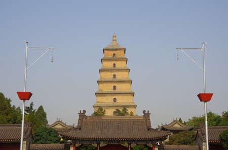 muralla china: China shaanxi xi an wild goose pagoda, music fountain