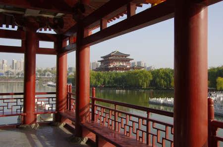 tang: Reflection of the Tang Paradise Center at night, Xian, China