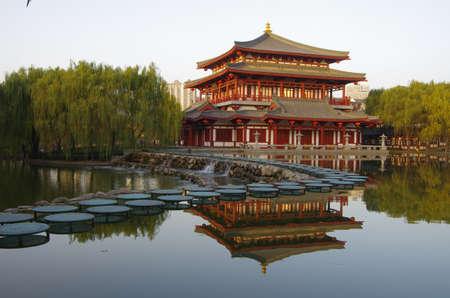 historical reflections: Reflection of the Tang Paradise Center at night, Xian, China
